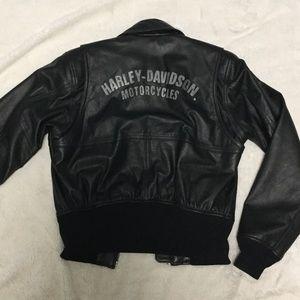 Harley Davidson leather bomber jacket small